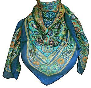 Women Handmade 100% Pure Silk Square Scarves, Foulard, Head Scarf, Gifts