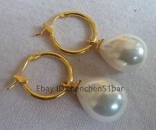 schöne 12*16mm weiße Ohrringe schwarz seemuschel Perle Hochzeit Partei Schmuck