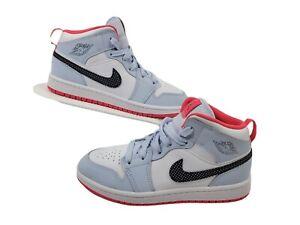 Air Jordan 1 Mid Half Blue Polka Dot Swoosh Kid's Sneakers Size 2Y 640737-400
