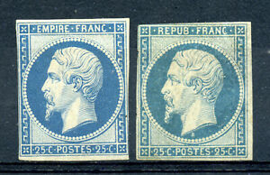 France 11, 17a VF centered mint imperf 25c Napoleion 1852-53 issues CV $4,450