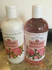 NEW Crabtree & Evelyn Rosewater Body Lotion-Bath & Shower Gel 16.9 FL OZ each