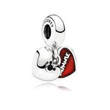 Authentic Pandora Charm Mickey Minnie Double Heart Disney Silver Bead 791441NCK