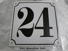 Mega Groß Hausnummer Emaille Nr. 24 schwarze Zahl weißer Hintergrund 20cmx20 cm
