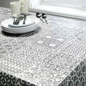 Geo Grey White Printed Tablecloth Wipe Clean PVC TABLECLOTH 132 x 178cm approx