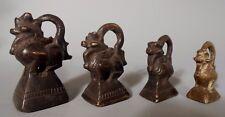 Lot of 4 Burma Burmese Bronze Opium Weights 278,144,80 & 51 Grams ca. 19th c