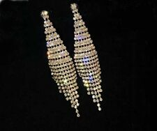 Crystal Chandelier Earrings Wedding Silver Gold Rhinestone Dangle Drop Earrings