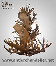 REAL ANTLER MOOSE/MULE DEER COMBO CHANDELIER, 20 Lights,Rustic Lamps MOOSEMDCAS