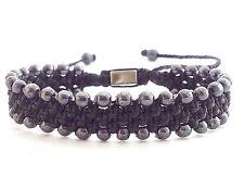 MEN'S Silver Hematite Gemstone Beads Woven Black Shamballa Wide Jewelry Bracelet
