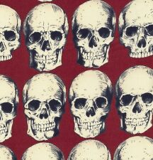 Alexander Henry Gothic Cream Rad Skulls on Rust Red Cotton Fabric - FQ