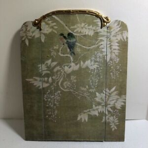 Dollhouse miniature soft pea green 3-panel room divider / screen with birds