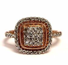 10k rose gold .40ct SI2-I1 K diamond halo cluster ring 3.1g estate vintage