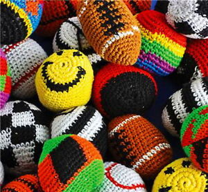 LOT OF 10 ASSORTED.KICK BALLS WOVEN HACKY SACK FOOT BALLS BAGS HACKEY PARTY A