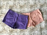 J Crew Womens Flat Front Mid Rise Chino Shorts Red Blue Cotton Size 10 Lot 2