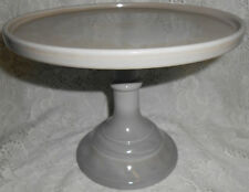 Gray Milk Glass cake serving stand / plate platter pedestal raised tray cupcake