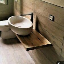 Mensola Sospesa per Lavabo Design in Abete massello, arredo bagno, salva spazio