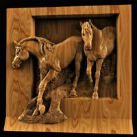 Two horses relief STL 3D Model STL relief for CNC Artcam relief