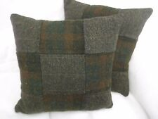 HARRIS TWEED CUSHIONS FOREST CHECK/NUT BROWN HERRINGBONE WITH FEATHER INNERS