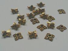 50 Tibetan Silver Antique Golden Bead Caps 6x6x2mm, Hole 2mm
