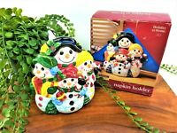 Classic Solutions Christmas Earthenware Snowman Family Napkin Holder Vintage NOS
