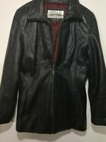 Pelle Studio  Zip up Leather Jacket Women's size L. Black cherry lining.