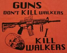 """Guns Don't Kill Walkers"" Zombies Parody Satire Men's XXXL Shirt Ript"