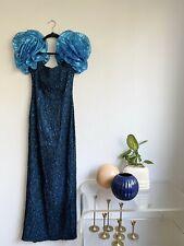 New listing Flirtations Alfred Angelo 80s Blue Lamè Dress Puffy Ruffle Shoulders Small