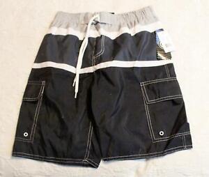 North 15 Boy's Board Beach Swim Trunks Shorts AM1 Black/Charcoal/Grey Size 10/12
