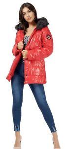 Ladies Padded Faux Fur Hood Jacket Coat Zip Pocket Sleeve Badge Blogger Winter