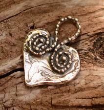 One Sterling Silver Spiral Dotted Loop HEART Charm 144s