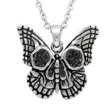 Controse Punk Mariposa Calavera Cz Negro Acero Inoxidable Collar con Colgante