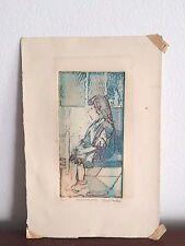 """Mid Century Lucie Sanders original block print """"Lost in Wonderland"""""""