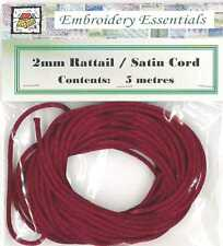 2mm Rattail / Satin Cord (Chinese Knotting Cord) - 5 metres - Burgundy/Red