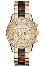 Michael Kors Ladies Ritz GoldTone S/S Tortoise Acetate Inlay Band Watch MK6322