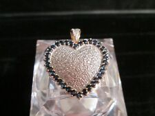 Blue Sapphire Diamond Pave Heart Large Vintage Pendant in 10k 2 Color Gold (NOS)