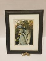 "Vtg. ""Guardian Angel"" 5 x 7 Framed Photo Colored Print Cemetary Art Signed Art"
