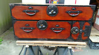 Antique Japanese Nihonmatsu Lacquer Tansu Clothing Chest ,  Bottom Half Only