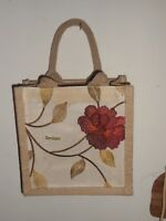 Genieart Embroidered  Jute bag with handles  L8xD8xW4 inches