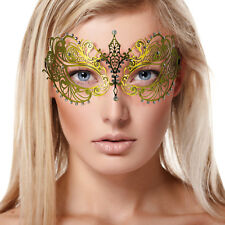 Gold Lace Metal Luxury Masquerade Venetian Mask Clear Diamante Fancy Dress