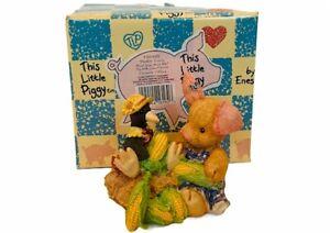 Enesco This Little Piggy figurine pig box nib vtg crow corn nothin corny farm
