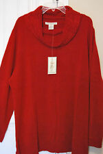 Sweater Woman's 3X Red Cowl Neck by Requirements Woman