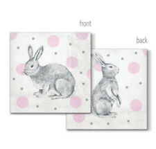 """""""Bunnies On Dots"""" - Pack of 20 paper napkins - 33x33cm - 3ply - Decoupage"""