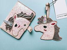 ASOS Skinnydip Glitter Unicorn Luggage Tag + Passport Holder Purse Wallet Case