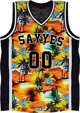 Custom Basketball Jersey Any Size Special design Orange Black palm tree