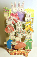 EASTER BUNNY FAMILY 3D GREETING CARD Stand up Display RARE MINT/Sealed Shackman