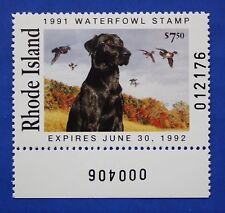 U.S. (Ri03) 1991 Rhode Island State Duck Stamp (Mnh) plate # single