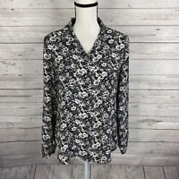 Ann Taylor LOFT Womens Button Up Blouse Sz Small Black White Floral Long Sleeve