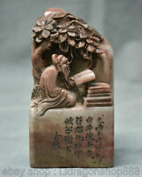 """4 """"Chinois shoushan pierre sculpture arbre vieil homme livre sceau cachet timbre"""