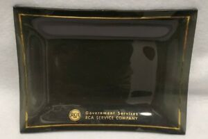 Rca Government Services Plate smoked glass 1960s gold trim