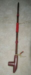 Vintage Native American Peace Pipe Wood & Red Pipestone Horse Hair Estate Find
