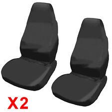 2x UNIVERSAL WATERPROOF BLACK FRONT SEAT COVERS/PROTECTORS FOR CAR/VAN SEATS